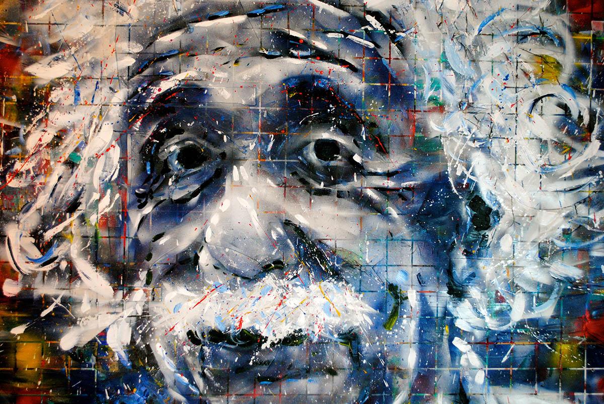 Albert Einstein Original Painting Charlie Hanavich