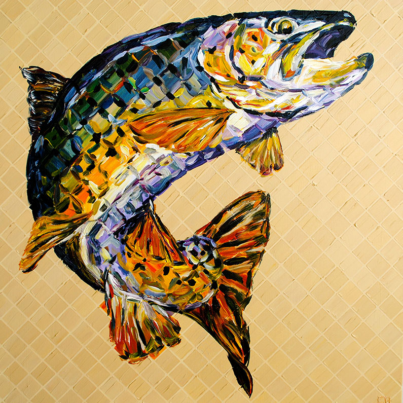 miami artist charlie hanavich trout painting