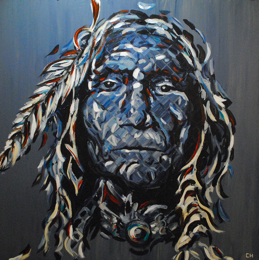Native American indian chief portrait painting