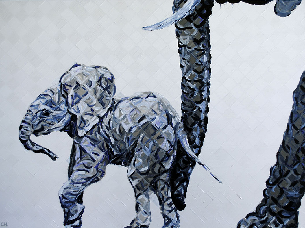 mother elephant and baby painting hanavich