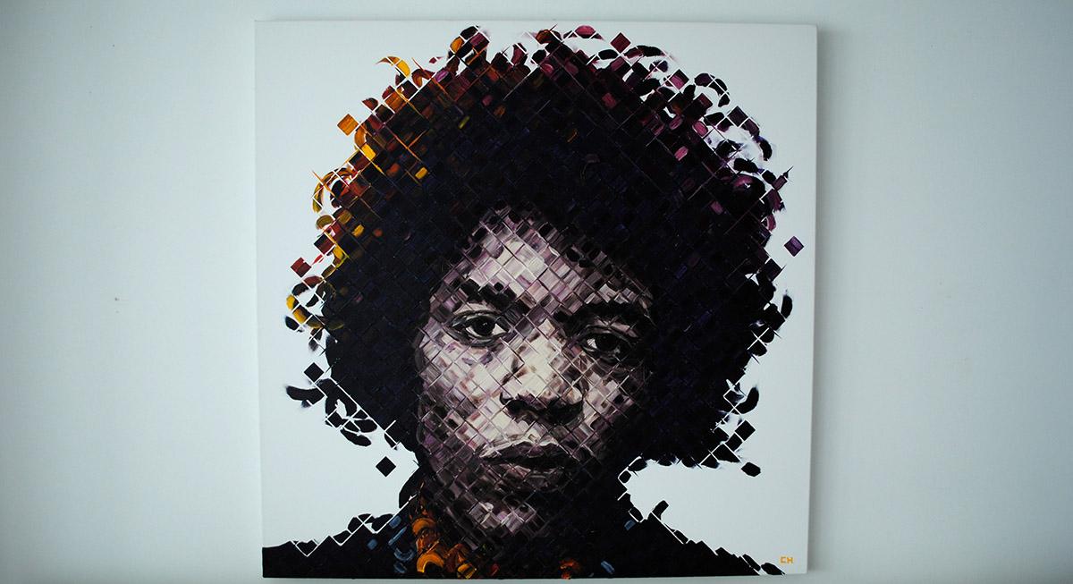 Jimi hendrix original painting spectrum miami