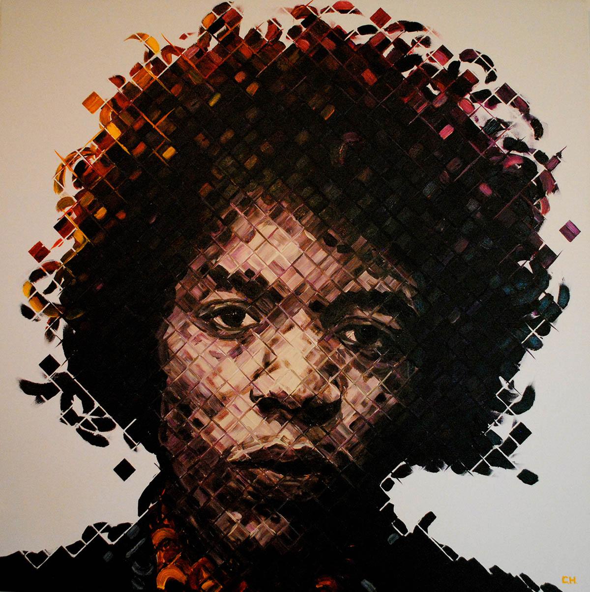 Jimi Hendrix Painting by Miami artist Charlie Hanavich Art