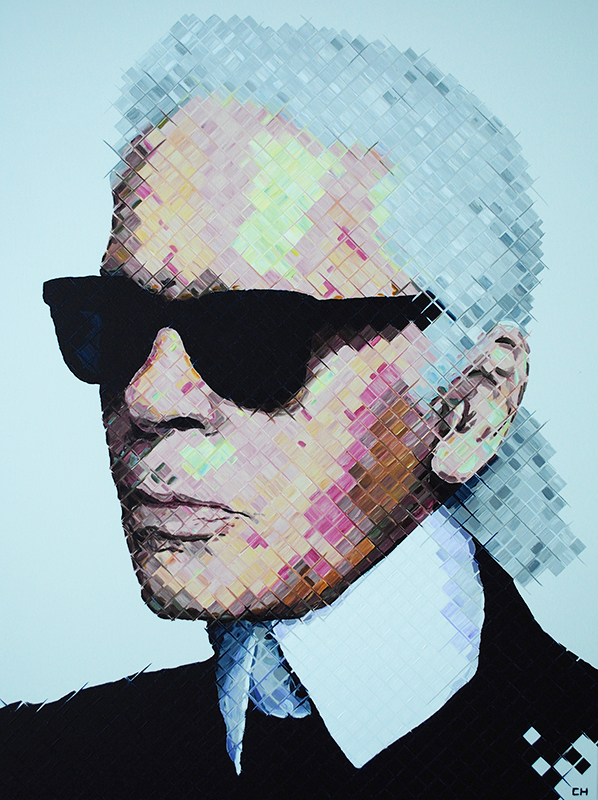 Karl Lagerfeld painting by Charlie Hanavich Art