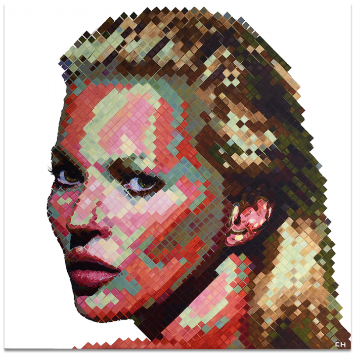 portrait of Kate Moss painting by Charlie Hanavich