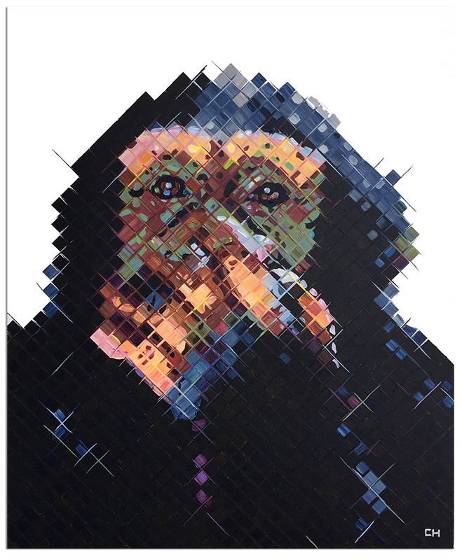 Speak no evil monkey painting by Charlie Hanavich