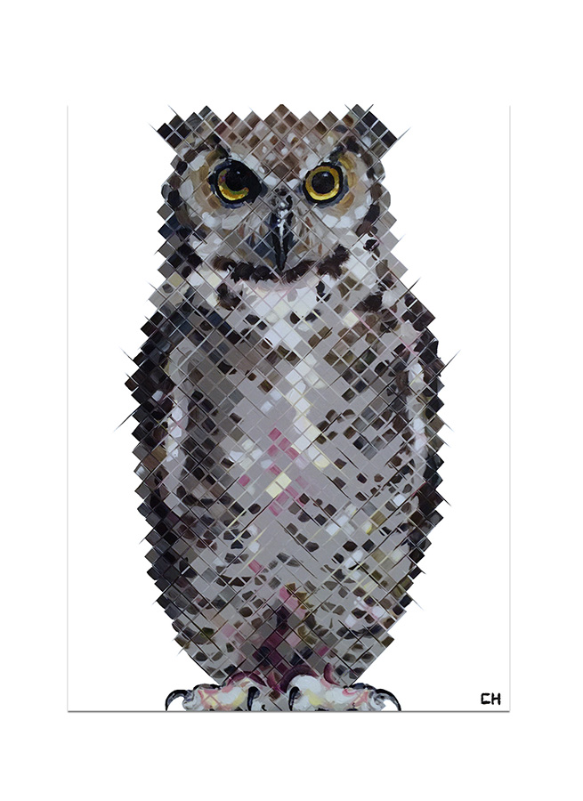 Owl Painting by Atlanta artist Charlie Hanavich