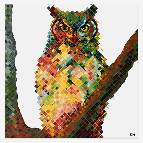 Atlanta artist Charlie Hanavich Colorful owl painting, barred, Owl