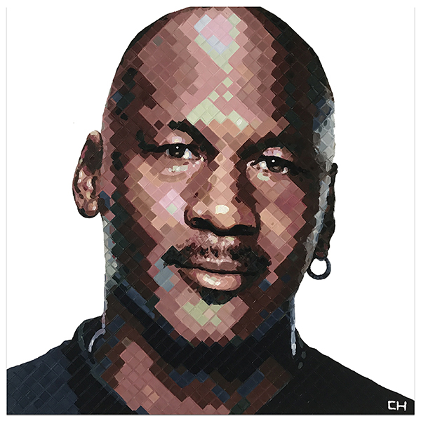 Painting portrait of Michael Jordan by artist Charlie Hanavich