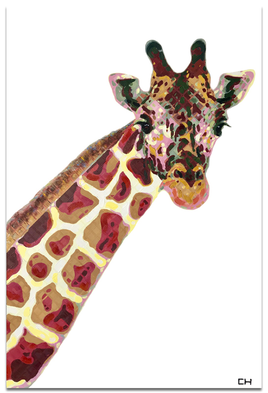 giraffe animal Painting by Atlanta Artist Charlie Hanavich