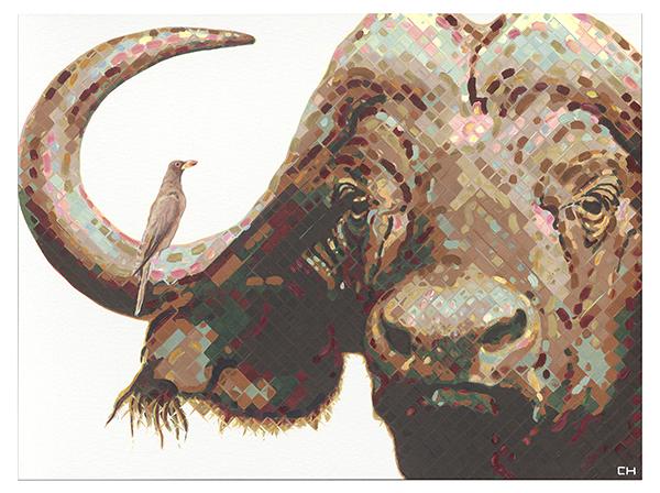 African Cape Buffalo Painting by Atlanta Artist Charlie Hanavich