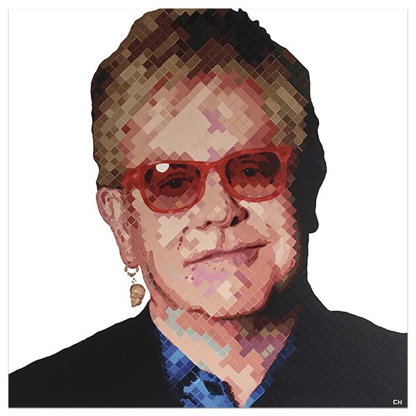 Elton John Portrait Painting by Atlanta Artist Charlie Hanavich