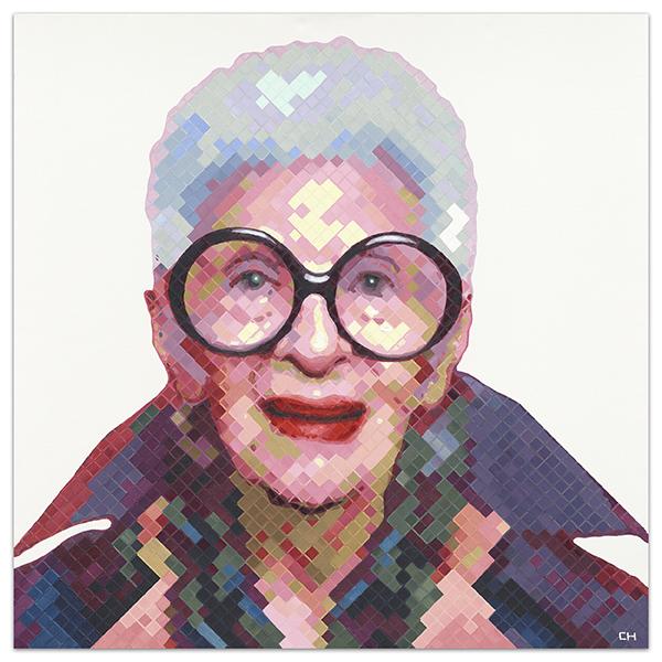 Iris Apfel Portrait Painting by Atlanta artist Charlie Hanavich.
