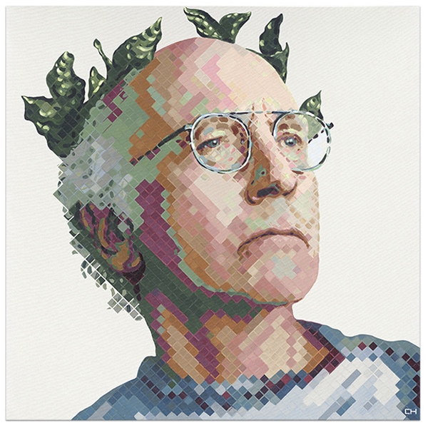Larry David Portrait Painting by Artist Charlie Hanavich