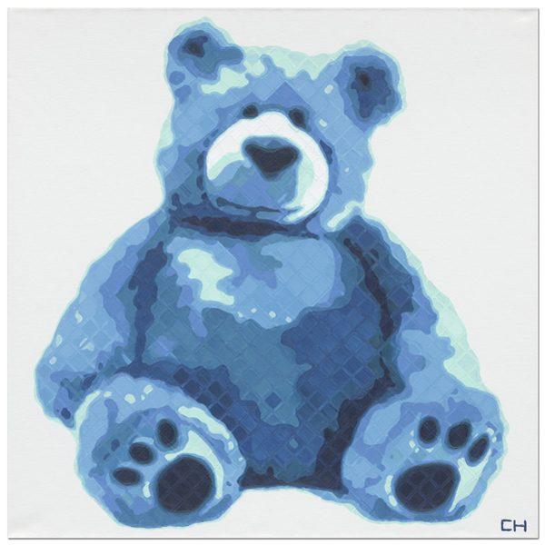 Blue Teddy Bear Painting by Atlanta Artist Charlie Hanavich