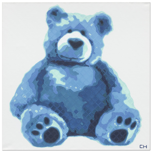 Blue Teddy Bear Painting by Atlanta Artist Charlie Hanavich