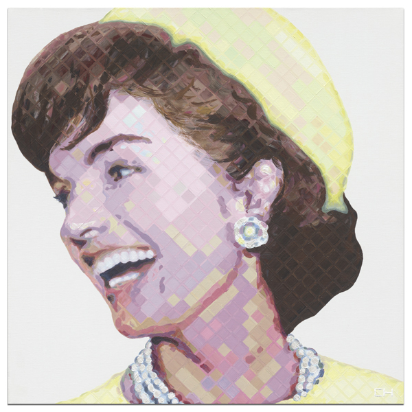 Yellow Jackie Kennedy Portrait Painting by Atlanta Artist Charlie Hanavich