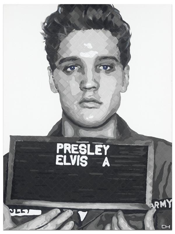 Elvis Mugshot Army Painting Charlie Hanavich art