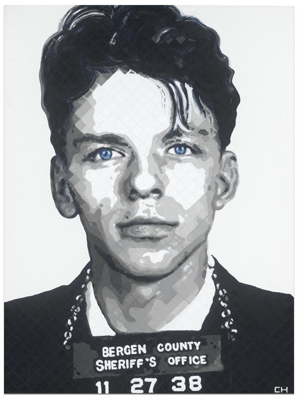 Frank Sinatra Mugshot Painting by Charlie Hanavich