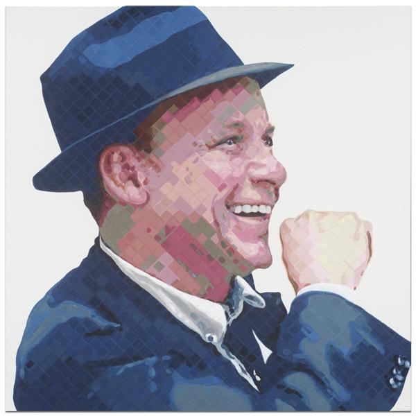 Ol blue Eyes Frank Sinatra Portrait Painting by Atlanta Artist Charlie Hanavich