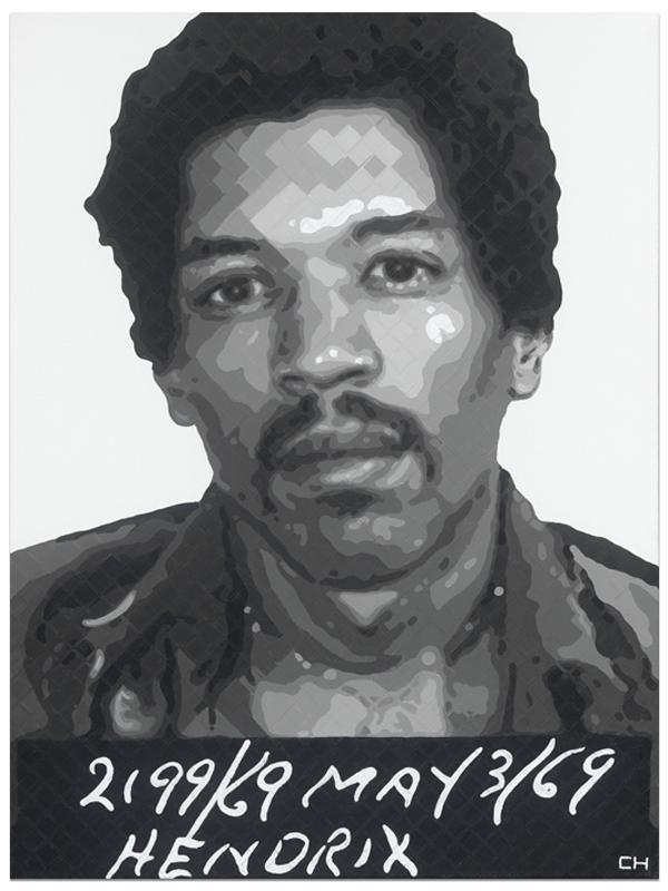 Jimi Hendrix Mugshot portrait Painting by Atlanta Artist Charlie Hanavich