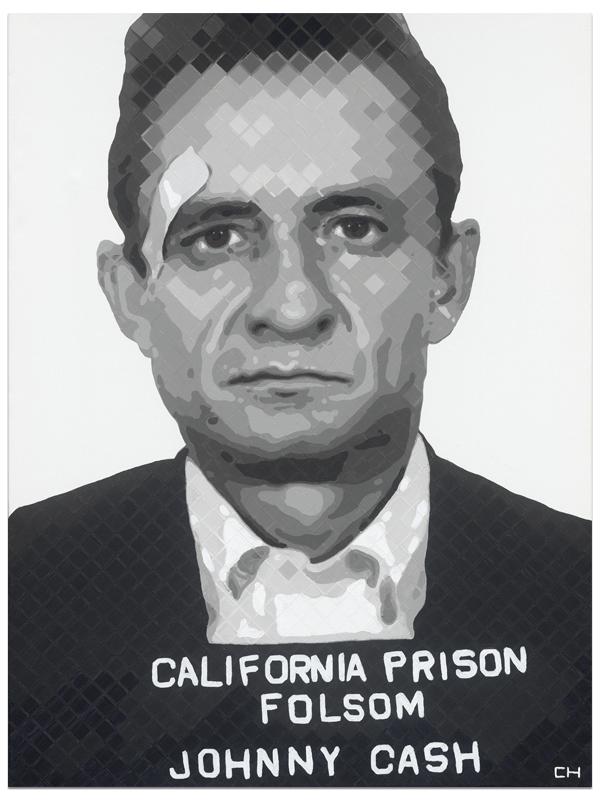 Johnny Cash Mugshot painting by artist Charlie Hanavich