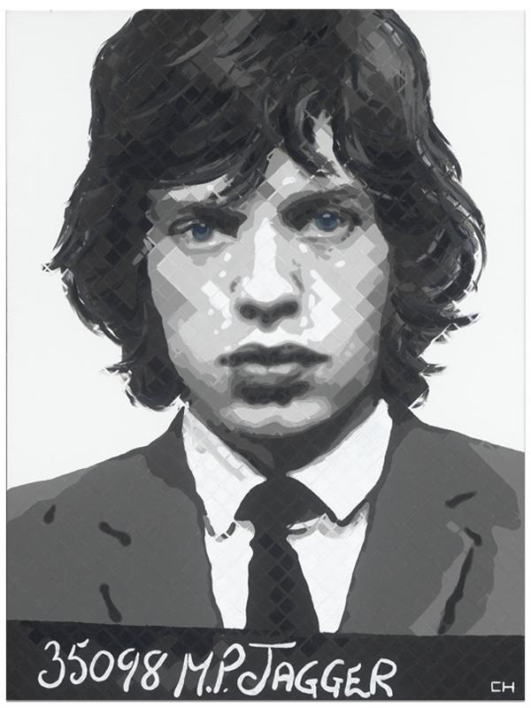 Mick Jagger Mugshot Painting by artist Charlie Hanavich